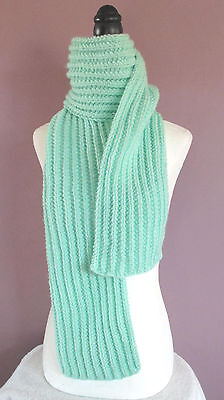 Scarf Handknit Ribbed Mint Green 64 Inch Length