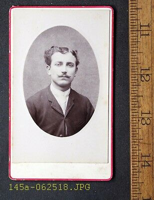 Antique CDV Photo of Young Man with Curly Hair & Thin Mustache