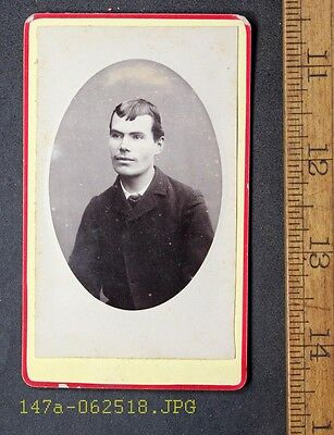 Antique CDV Photo Handsome Young Man with Backmark Taken in France