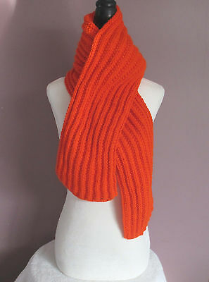 Bright Orange 70 Inch Handmade Handknit Ribbed Scarf