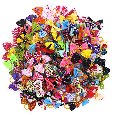 60pcs New Pet Dog Hair Bows Bowknot Mix Color Pattern Pet Grooming Bows Topknot