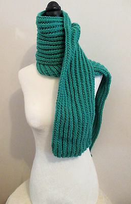 70 Inch Blue-Green Handmade Handknit Ribbed Scarf