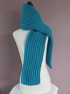 Hand Knitted Aqua Blue Turquoise 72 Inch Ribbed Scarf