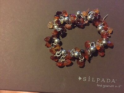Silpada Sterling and Crnelian Bracelet -  RARE, Retired 2005a