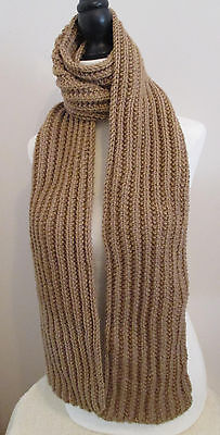 72 Inch Tan-color Handmade Handknit Ribbed Scarf