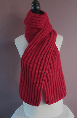 Red Scarf Handmade Handknit Ribbed Knitted 72 Inch Scarf