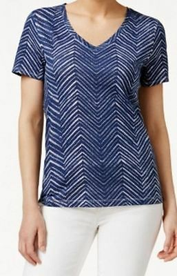 Tommy Hilfiger NEW Blue Womens Size Small S V-Neck Graphic Tee T-Shirt $39 253
