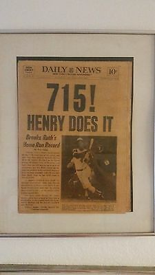 Hank Aaron 715 Home Run /  Babe Ruths 714 record NY DAILY NEWSPAPER complete