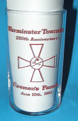 Vintage Warminster Twp PA 250th Anniv Firemen's Parade June 10th 1961 Fed Glass