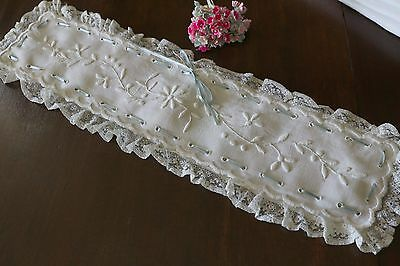 Victorian Linen Embroidered Pin Cushion Hat Pin Bolster Cover
