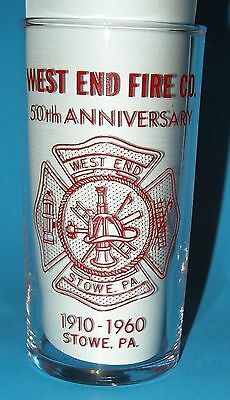 1960 West End Fire Co Stowe PA 50th Anniversary Vintage Federal Beer Juice Glass