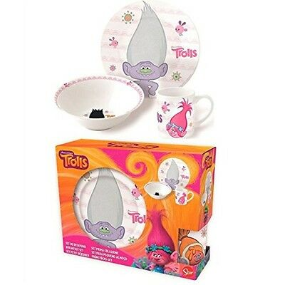 Trolls White Ceramic Gift Set with Box, Set of 3, Dishwasher and microwave safe