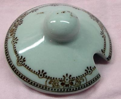 Unknown Maker / Pattern Restaurant China Brown Condiment Jar Lid - No Res.