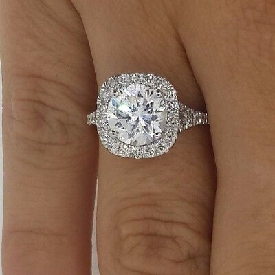 3.01 Ct Round Cut Vs Halo Diamond Solitaire Engagement Ring 18K White Gold