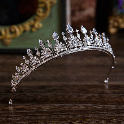Wedding Bridal Queen Crown Zircon Tiara Crystal Headband Jewelry HairAccessories