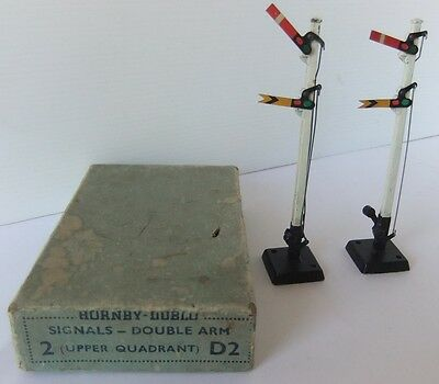 HORNBY DUBLO D2 Double Arm Upper Quadrant Signals - (Boxed)