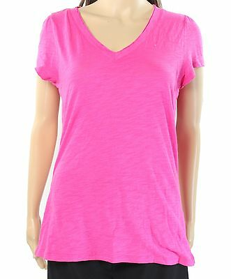 INC NEW Intense Pink Womens Size Small S Solid V-Neck Tee T-Shirt $22 172