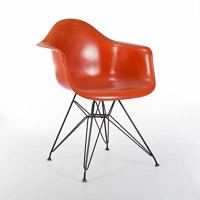 Orange Authentic Herman Miller Original Fiberglass Eames DAR Arm Shell Chair