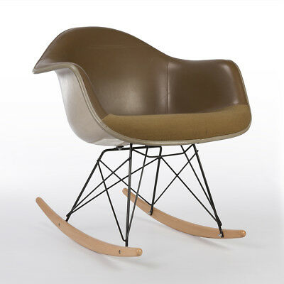 Tan Herman Miller Vintage Eames Upholstered RAR Contract Arm Shell Chair