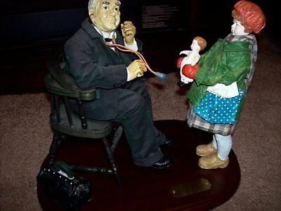 """Vintage Norman Rockwell """"Doctor And Doll"""" Figurine & Print Saturday Evening Post"""