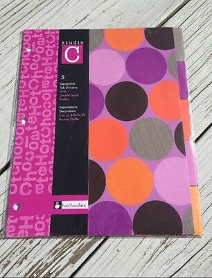 Studio C Decorative Tab Binder Dividers with 1 Double Sided Pocket Hot Chocolate