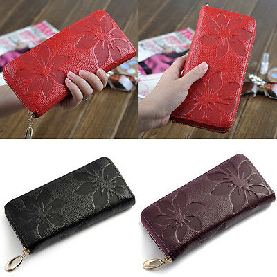 New Fashion Women's Genuine Leather Long Purse Wallet Phone Card Holder Handbag