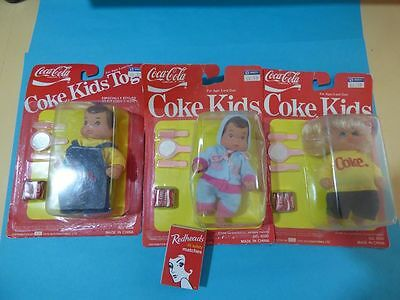 "Set Of 3 "" Coke Kids"" Dolls..rare To Find Boy, Girl And Rare To Find Baby 1986"