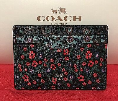 NEW COACH RANCH FLORAL PRINT MIX COATED CANVAS FLAT Card Case/Holder  F59554 $65