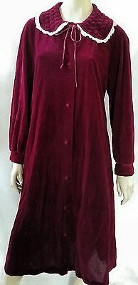 GIVONI vintage ladies size 18 velour dressing gown maroon bed lounge robe