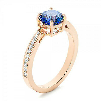 1.25 CT Sapphire and Natural Diamond Solid 14k Rose Gold Engagement Ring