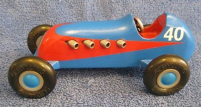 SCHYLLING Wood Race Car. #40. Blue/Red. Repainted. Push Toy. Grand Prix. Indy