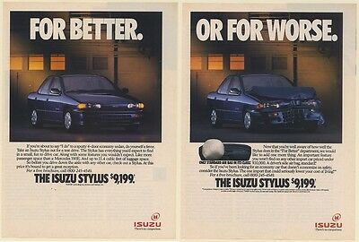 1991 Isuzu Stylus For Better Or For Worse 2-Page Print Ad