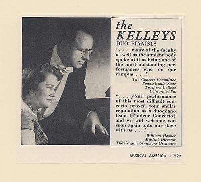 1962 Duo Pianists The Kelleys Photo Print Ad