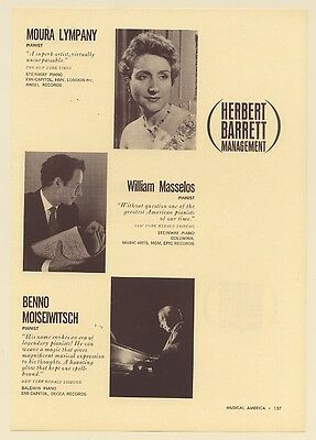 1962 Moura Lympany William Masselos Benno Moiseiwitsch Pianist Photo Booking Ad