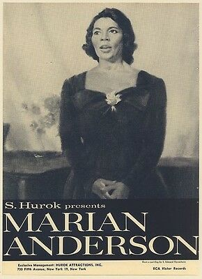 1962 Marian Anderson S Edmund Oppenheim art Booking Print Ad