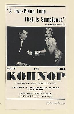 1962 Louis and Aida Kohnop Duo Pianists Photo Booking Print Ad