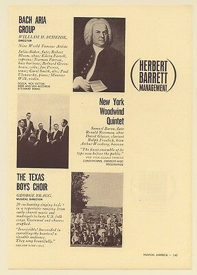 1962 Bach Aria Group New York Woodwind Quintet The Texas Boys Choir Booking Ad