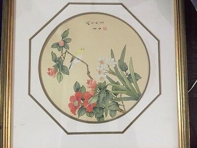 Original Antique Chinese Painting On Silk Signs And Red Sealed Very Rare