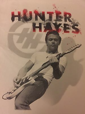 HUNTER HAYES Concert T-Shirt Medium White 100% Cotton EUC FREE SHIP B15