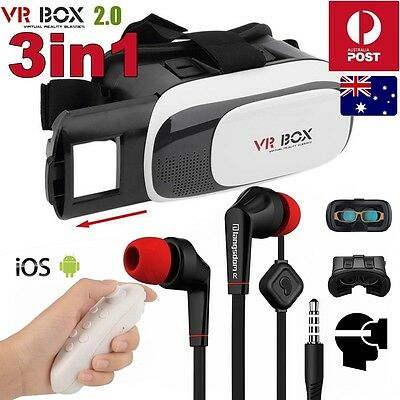 3in1 Reality VR Headset 3D Glasses With Remote fr Android IOS iPhone Samsung S8