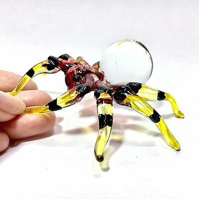 Miniature Blown Glass Spider Statue Animal Figurine Insect Collectibles Decor