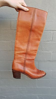 Vintage 70s Knee High Boots 8.5 Genuine Leather