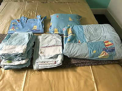 Baby Cot Quilt Set with  ( 2 sets of Sheets - Boy) Pillow and Curtain