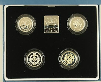1994 - 1997 4 x £1 SILVER PROOF COLLECTION  - boxed/coa's