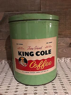 Vintage King Cole 5LB Light Green Coffee Tin with Lid Rare Coffee Tin by Barbour