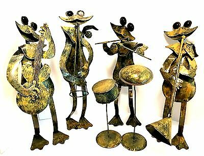 Metal Frog Band Four Frogs Drums Bass Guitar Horns Bobbleheads 16 inches Tall