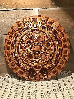 Wooden Exotic Inlays Aztec Mayan Calendar Mexican Art Wall Decor Vintage