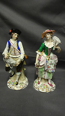 Vintage Pair Of Sitzendorf Porcelain Figures - Sheep Shearer & Shepherdess