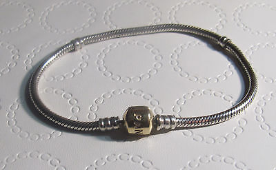 Authentic PANDORA Sterling Silver 14k Gold BARREL CLASP Charm Bracelet 8.5