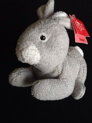 "Russ Berrie Nubbles 7"" Suede Feel Plush Bean Bag With Tag Grey 1of 2 Item 20140"